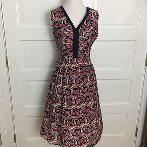 Tory Burch navy red silk blend dress size 4